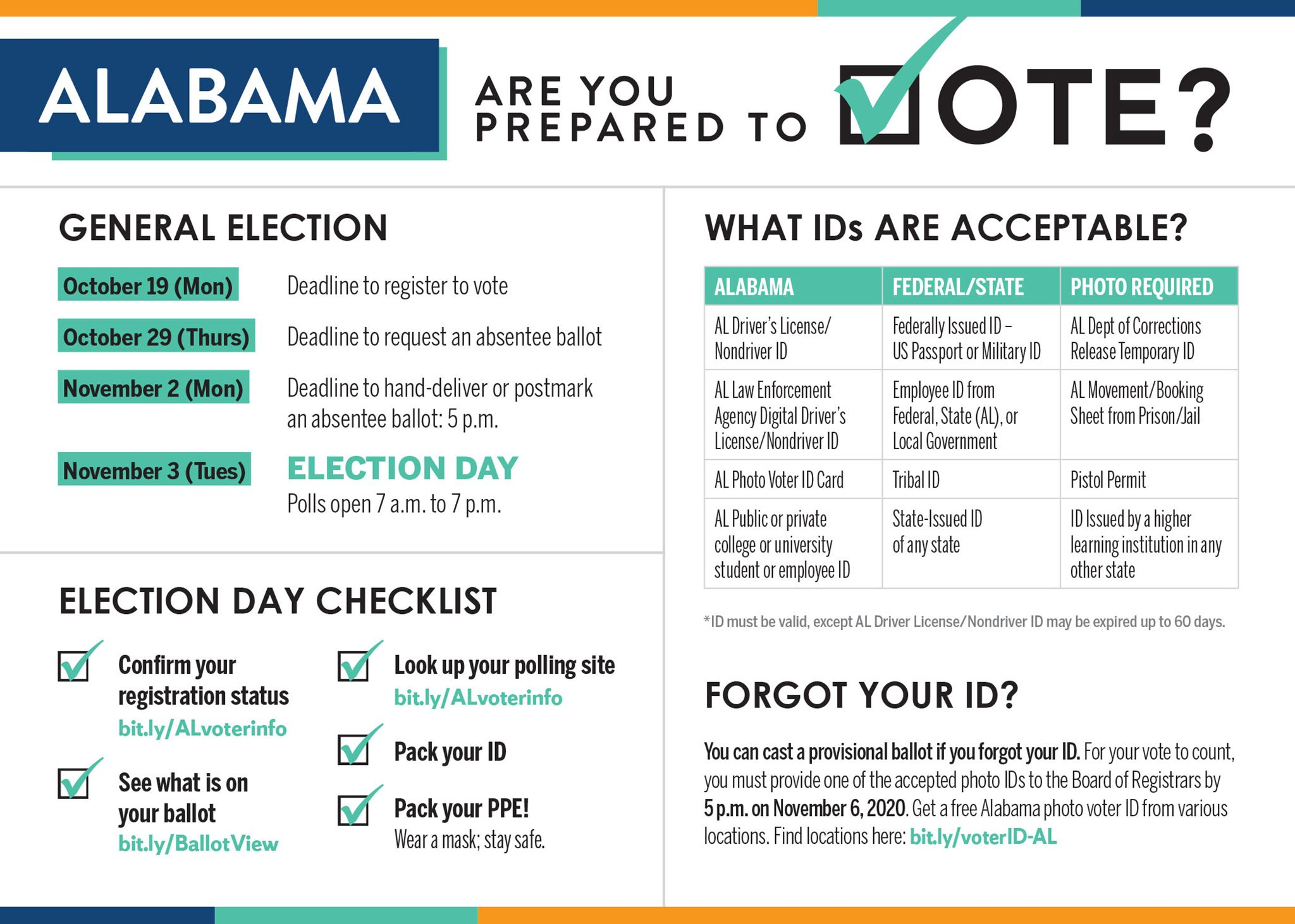 """Alabama: Are you prepared to vote?"" palm card"