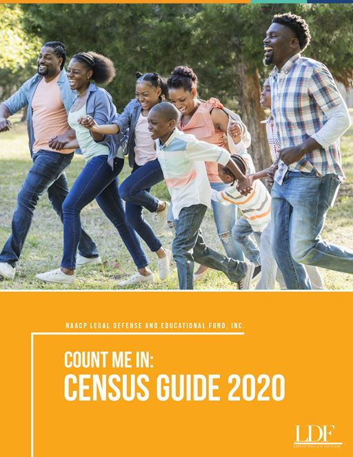 "Cover of ""Count Me In: Census Guide 2020"" brochure depicting a family with kids playing in a park"