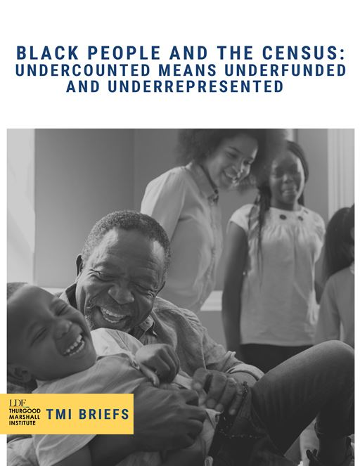 "Brochure cover for ""Black People and the Census"" featuring an image of a man and his young granddaughter laughing while other family members look on"