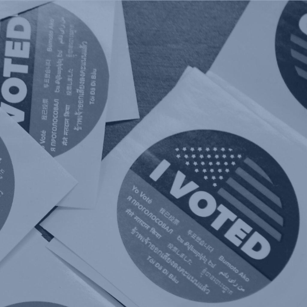"Stickers that read ""I voted"" in many languages"