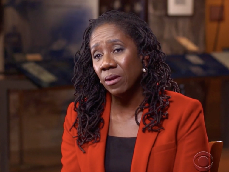 Sherrilyn Ifill on the 60 minutes set